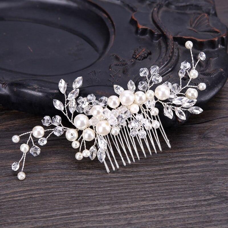 Elegant Imitation Pearl Hair Comb Bride Handmade Headdress Flower Female   Headwear   Wedding Accessories Hair Ornaments LB
