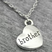 15x18mm Brother Pendant Necklace For Women 2 Colors Antique Silver Antique Bronze Color Fashion Necklace Jewelry Accessories(China)