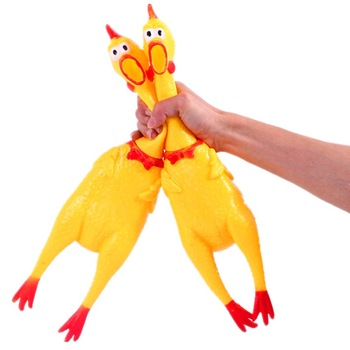 Pet dog toy screaming chicken screaming chicken dog molars yellow rubber chicken dog chew toy durable and funny buzz 1