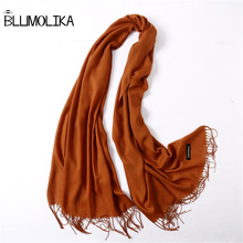 2018 new women scarf  cashmere shawl with two side fringe fashion female hijab pashmina winter over size solid warp hot sales