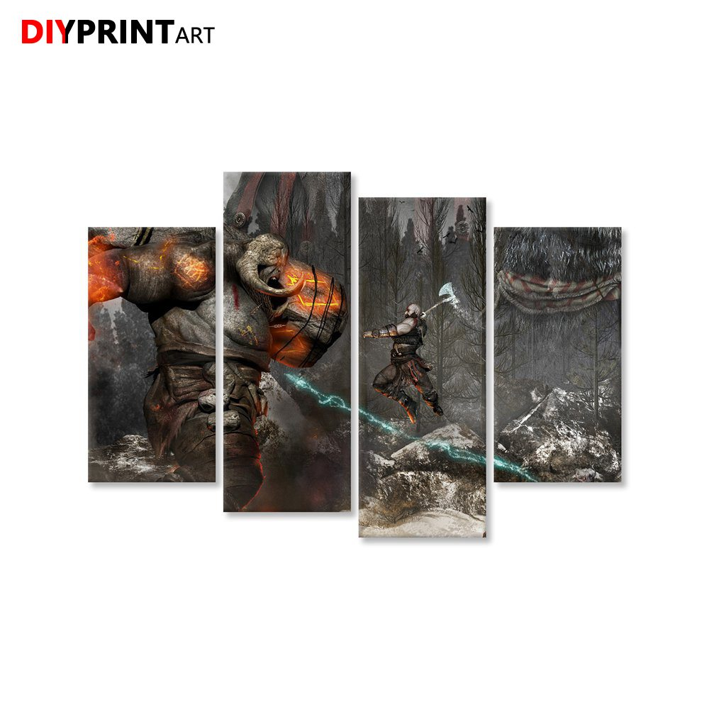 Kratos vs Mountain Monster 4 Pieces Modern Art Poster God of War 4 Game Paintings for Living Room B0024