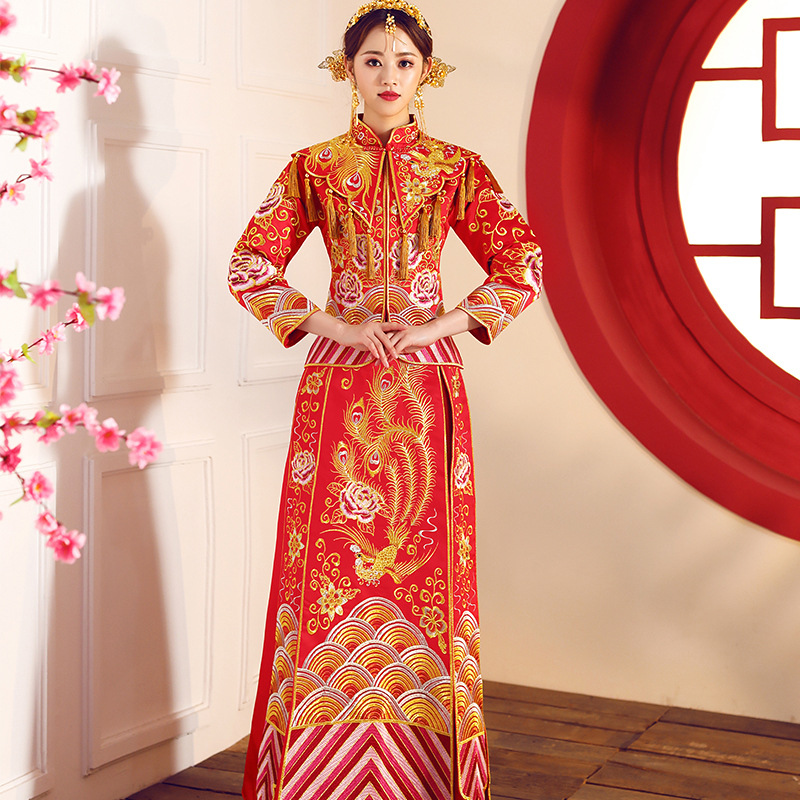 Qipao Wedding Gown: Red Qipao Women Bride Traditional Wedding Gown 2018 New