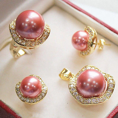 Pink shell Pearl Jewelry Necklace Earring Ring Wholesale Set Free chain**watch wholesale Quartz stone CZ crystal