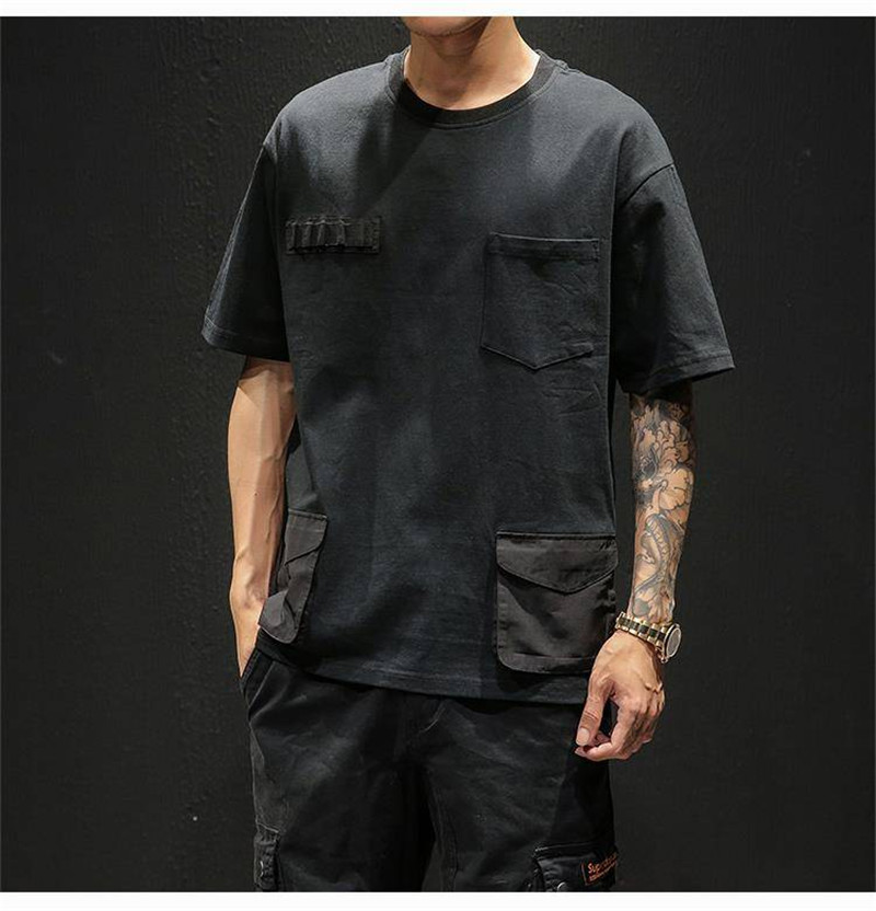 Hip Hop T-shirts Men With pockets Harajuku Oversized Tops Tee Japan Tshirt Streetwear Casual Solid High Street T Shirts Boy 44