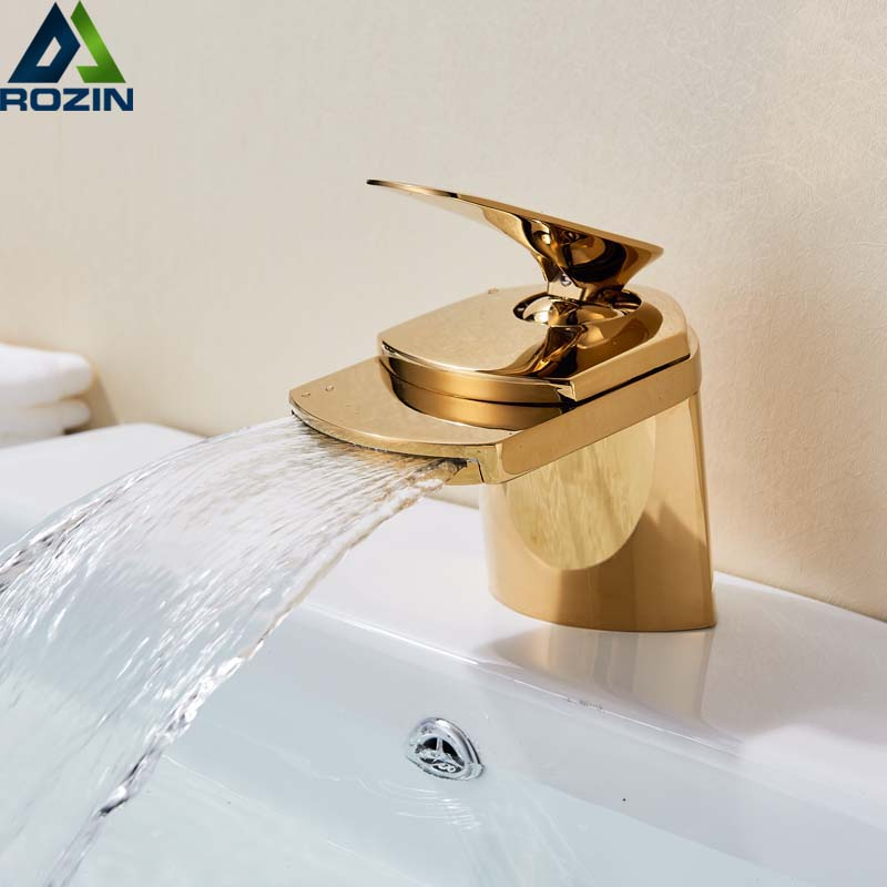 Golden Waterfall Spout Basin Vessel Sink Faucet Deck Mount Golgen Brass Hot Cold Mixer Tap for
