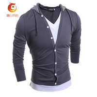 T Shirt Hooded Male Long Sleeve Fake Two T Shirt V Neck Slim Men T Shirt