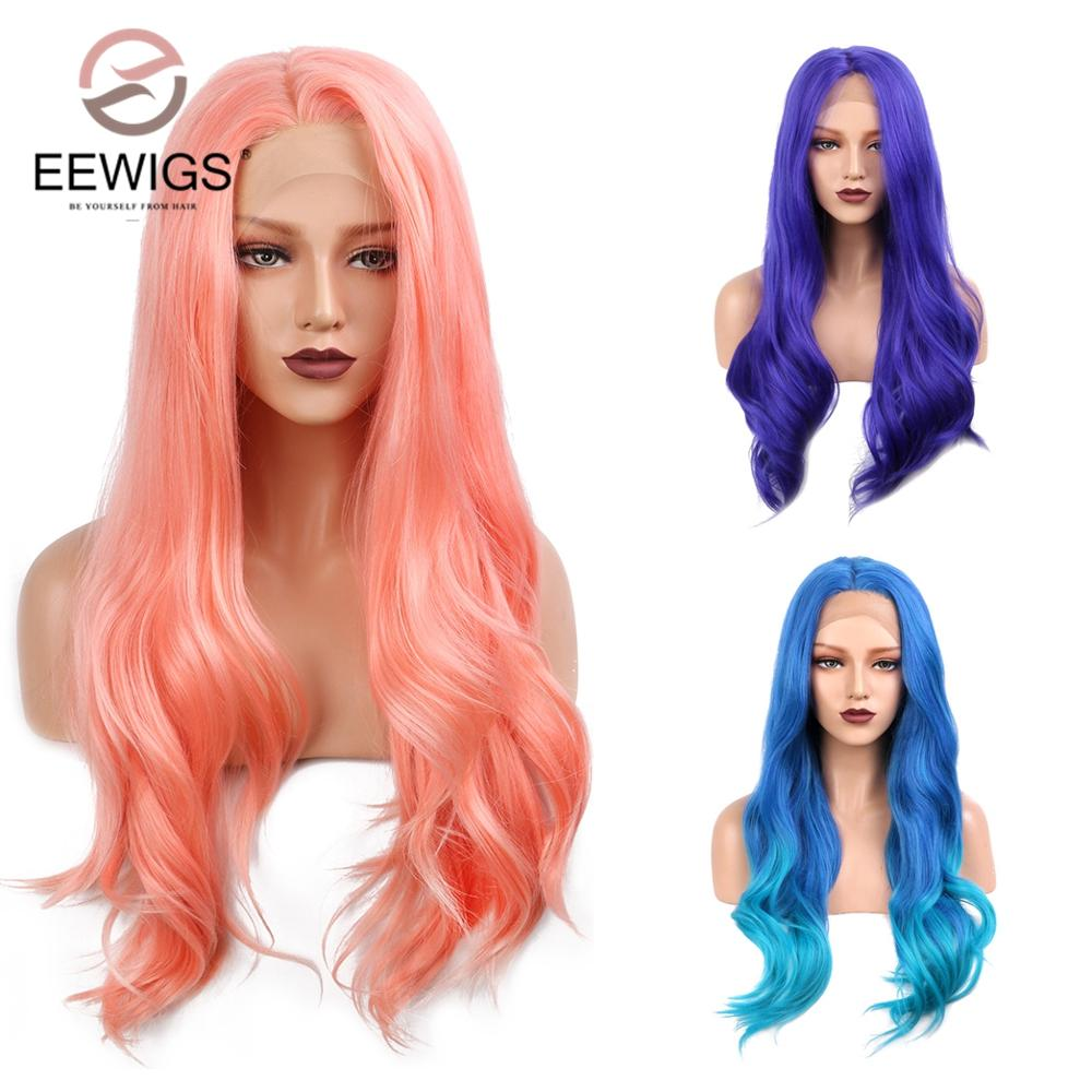 EEWIGS 150% Heavy Density Half Hand Tied Hair Long 22 INCH Wavy Ombre Blue Purple And Pink Lace Front Wig Synthetic Hair