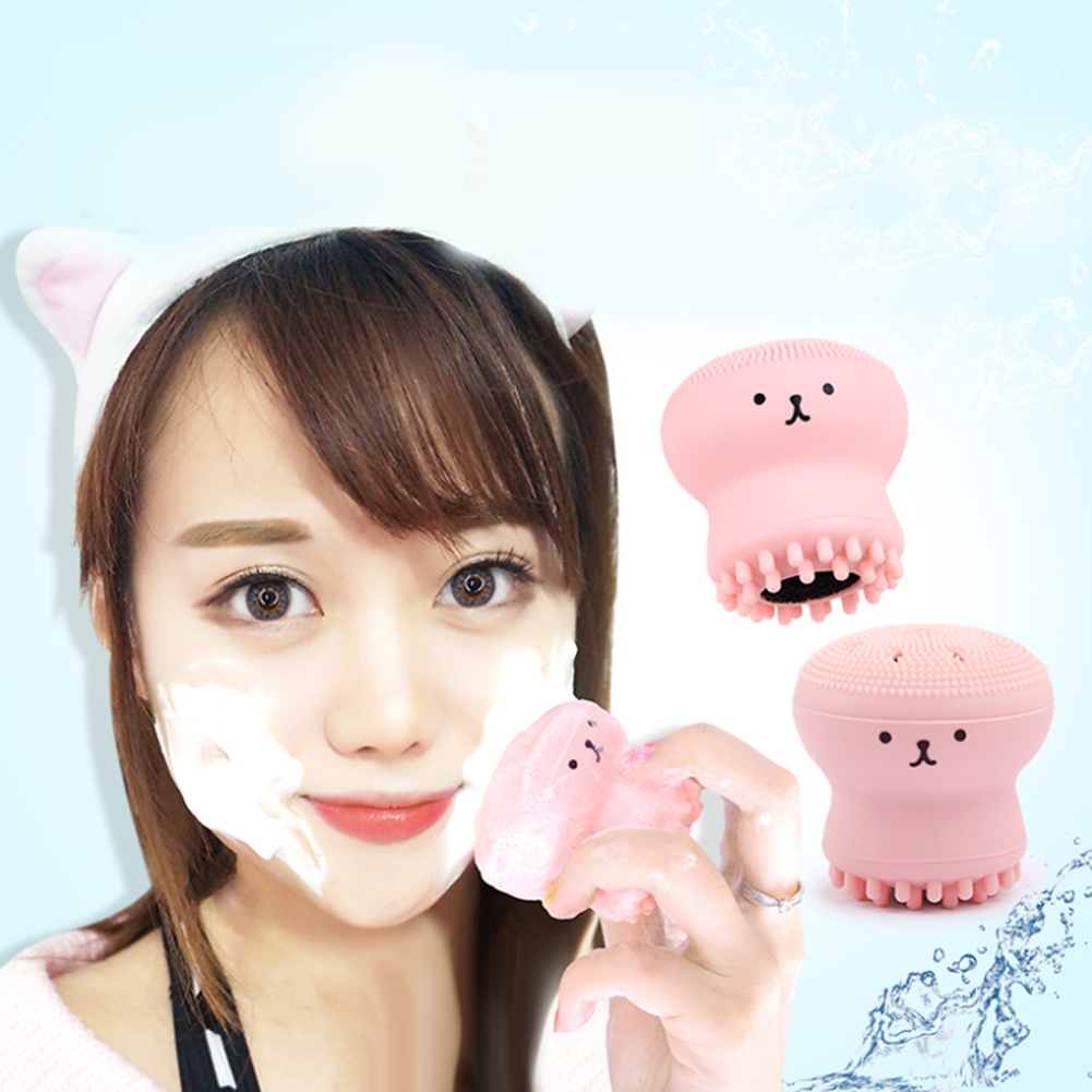 Cute Kawaai Face Facial Deep Pore Cleanser Brush Jellyfish Shaped Silicone Octopus Face Cleanser