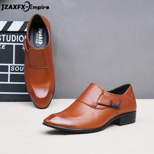 цена New Men Leather Formal Shoes Buckle Strap Office Business Wedding Dress Loafer Shoes Top Quality sapato social masculino