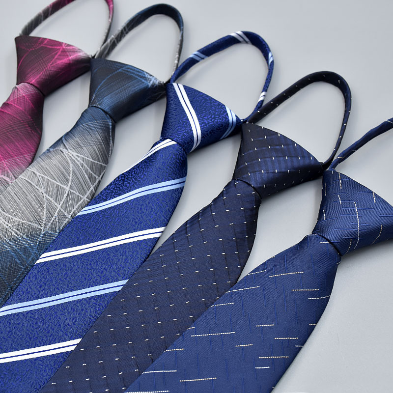 7cm Polyester Silk Striped Necktie Neckwear Business Zipper Tie For Men Wedding Gravatas Casual Fashion Suits Gifts
