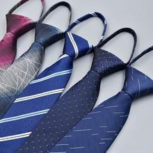 7cm Polyester Silk Striped Necktie Neckwear Business Zipper Tie For Men Wedding Gravatas Casual Fashion Suits gifts new men s business casual professional tie polyester silk striped male tie team manufacturers wholesale spot