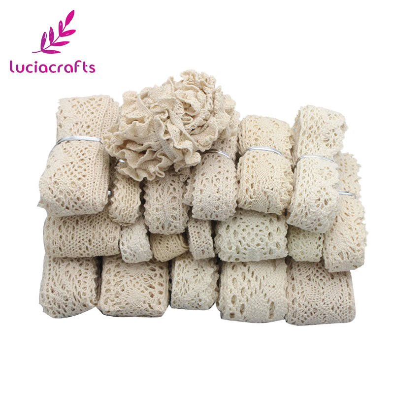 Lucia Crafts 2y/6y Ivory Trim Cotton Crocheted Lace Ribbons Apparel Sewing Fabric Material Diy Handmade Accessories 050021158