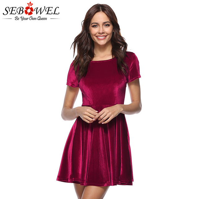 SEBOWEL 2018 Lady Casual Dresses Velvet Spring Autumn Vintage For Women Big  Hem Party Pleated Short 9f73a3aec00d