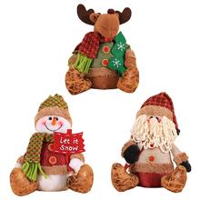 Christmas Plush Doll Decorations Shopping Mall Window Desktop Decoration Innovative Santa Claus Elk Sitting Posture
