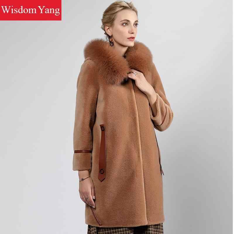 Элегантные женские бежевый верблюд Обувь с овечьей шерстью кашемировые пальто лиса меховой воротник зима теплые длинные женские шерстяные женские пальто Верхняя одежда
