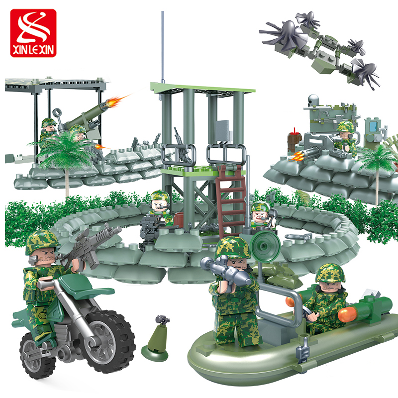 xinlexin 317P 4in1 Military boys Blocks Soldier War Weapon Cannon Dog Bricks Building Blocks Sets SWAT Classic Toys For Children xinlexin 317p 4in1 military boys blocks soldier war weapon cannon dog bricks building blocks sets swat classic toys for children
