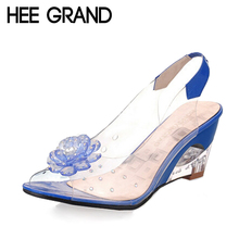 HEE GRAND Summer Sandals Women Peep Toe Wedge Sandals Flowers Sweet Jelly Shoes Woman Shoes For Lady Size Plus 35-43 XWZ831