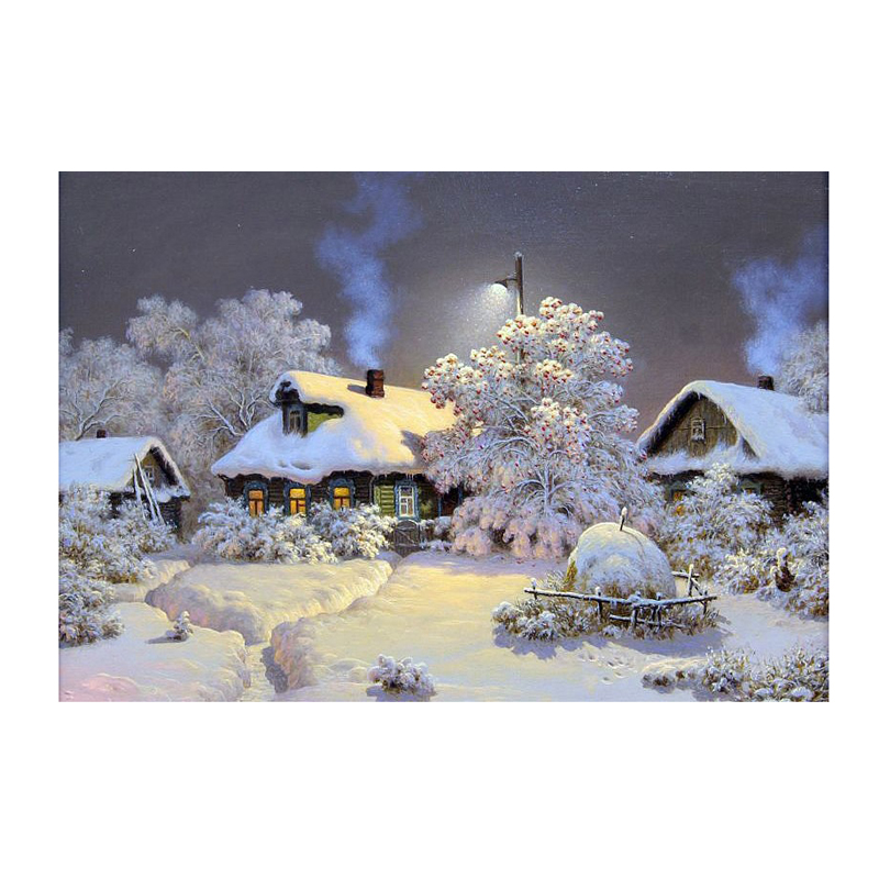 יהלום רקמה נוף שלג לילה תבנית עם אבני חן תפירה יהלום פסיפס טבע ערכות מכירה עבור תפירה חוצה