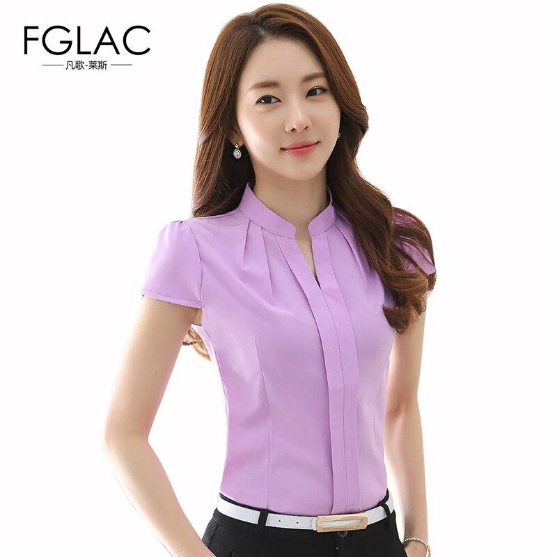 950cf575203 рубашки женские Летние блузки большие размеры короткий рукав горячий  твердое тело блузки женские мода Элегантные блузки рубашка женская