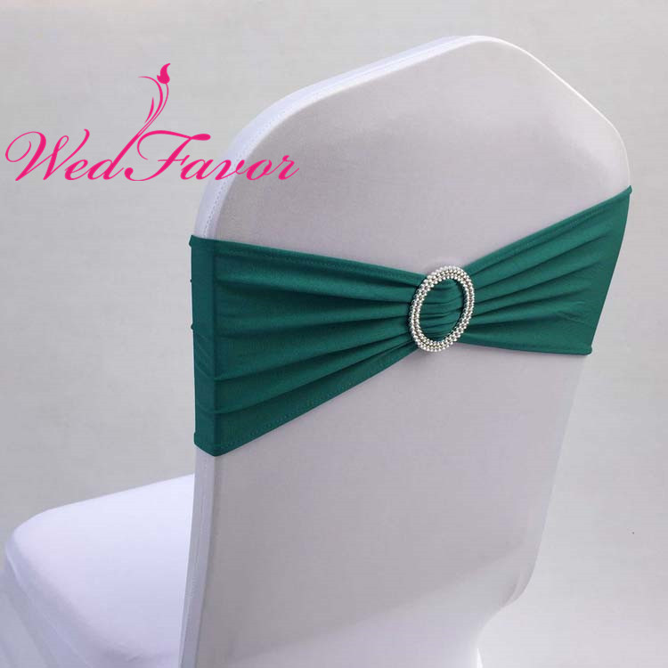 WedFavor 100pcs Teal Stretch Lycra Chair Bow Tie Spandex Chair Sash Bands With Plastic Round Buckle