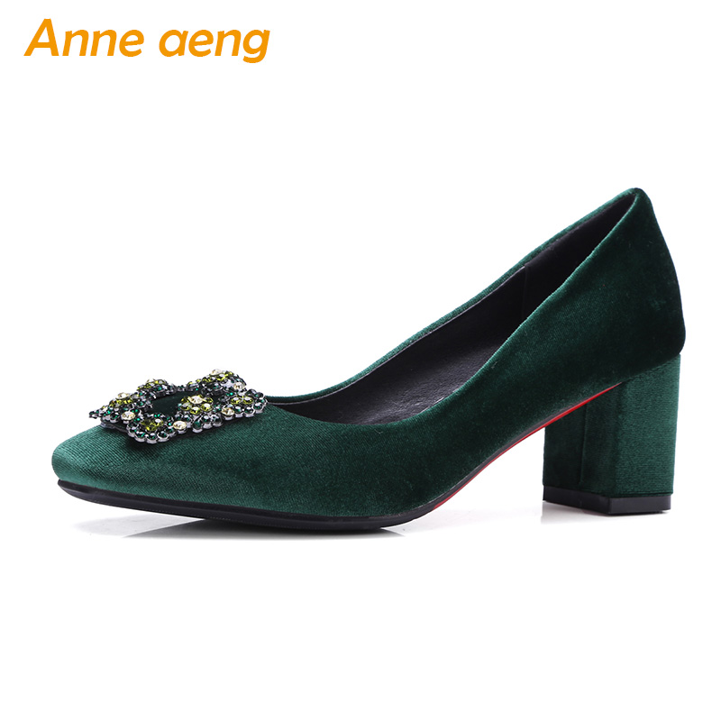 New Spring/Autumn Women Pumps High Heel Square Toe Slip-On Shallow Crystal Fashion Ladies Women Shoes Green Pumps Big Size 33-43 2018 spring autumn new lace flower wedding shoes slip on round toe bridal shoes high heel women pumps shallow pointed toe 8 5cm