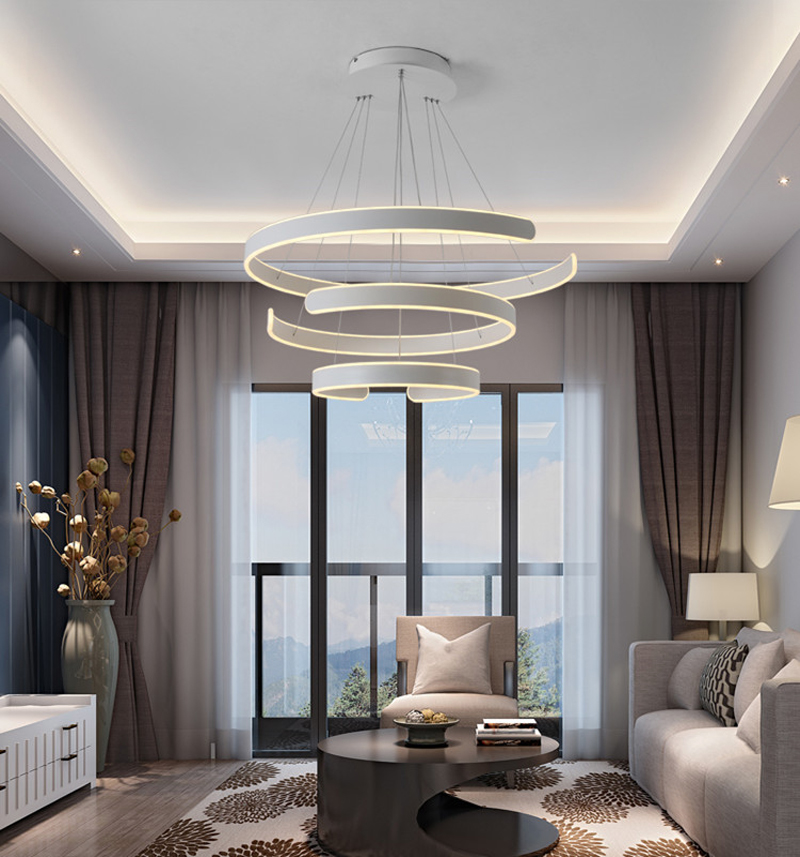 HTB1iDhUg JYBeNjy1zeq6yhzVXan AC90-264VModern pendant lights for living room dining room Geometry Circle Rings acrylic aluminum body LED Lighting ceiling Lamp