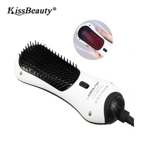 Kissbeauty Hair Brush Mini Infrared Hair Dryer Styler Hot Air Paddle Brush With Infrared Negative Iron