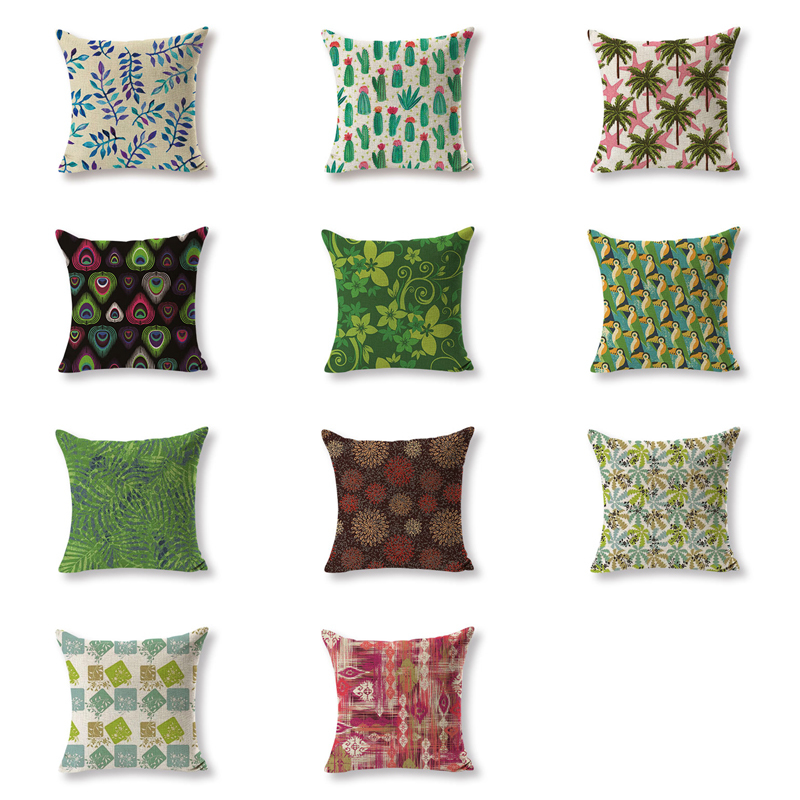 High Quality Cushion Covers Plant Cactus Pillow Covers Girls Car Large Cotton Linen Home ...