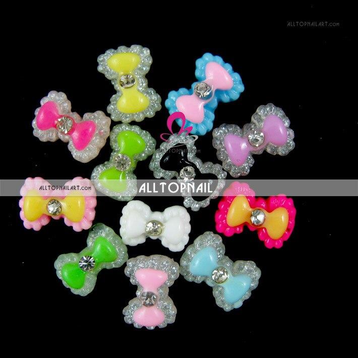 100 шт Разноцветные 3D блестки бантики для ногтей бант Акриловые Ломтики Стразы для дизайна ногтей украшения