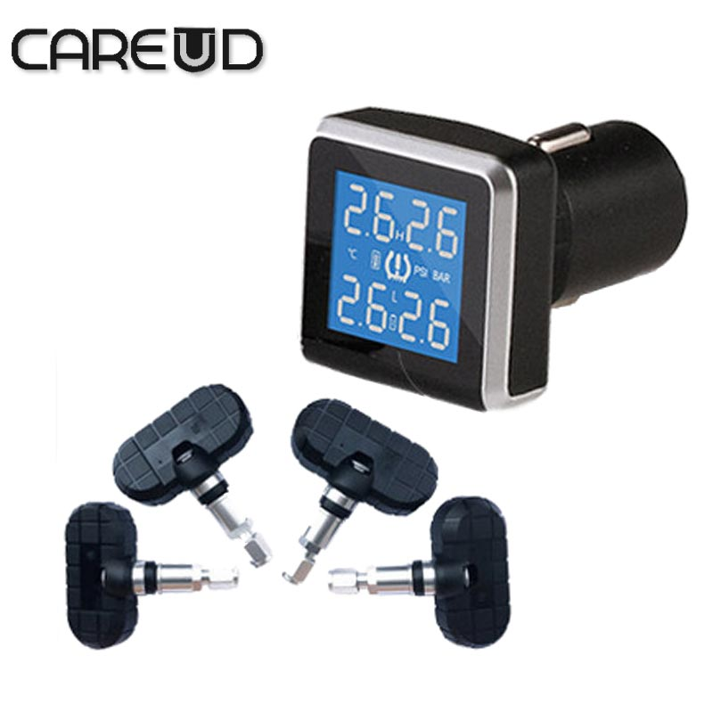Car TPMS with 4 internal sensors cigarette lighter use PSI/BAR careud tpms  diagnostic tool  tires pressure  tpms psi tpms