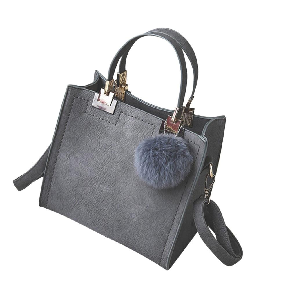 Vendita calda delle donne della borsa tote casuale sacchetto femminile grande spalla borse a tracolla di alta qualità cuoio DELL'UNITÀ di elaborazione con palla di pelo bolsa