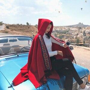 Image 3 - Mingjiebihuo 플러스 크기 기질 숙녀 고품질 뜨다 편안한 따뜻한 두꺼운 스카프 여성 술 연예인 스타일 판쵸