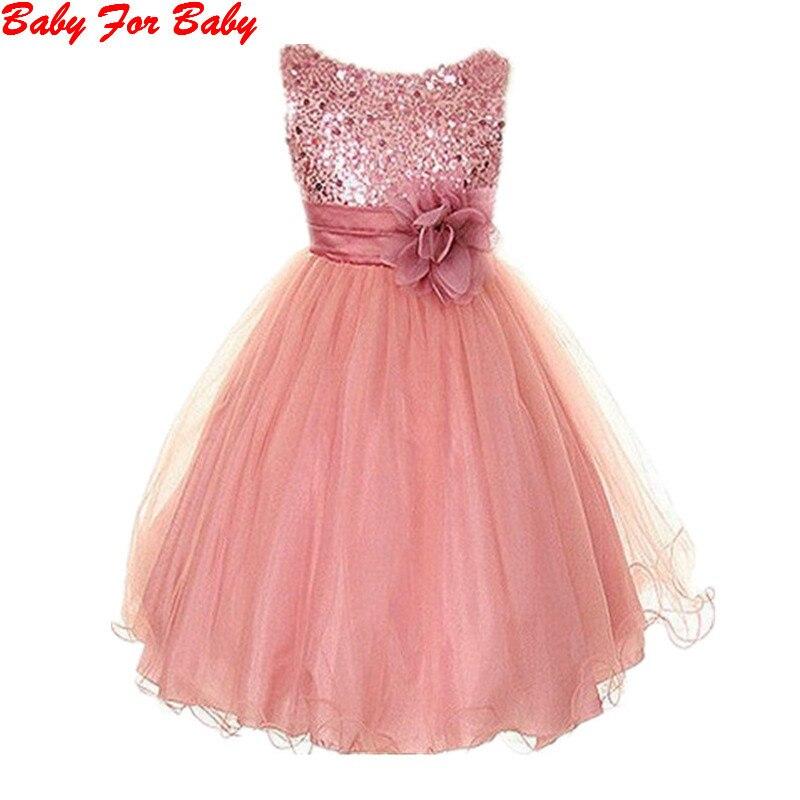 Kids Baby Dress Infant Girl Sequin Flower Party Dress Sleeveless Tutu Vestidos