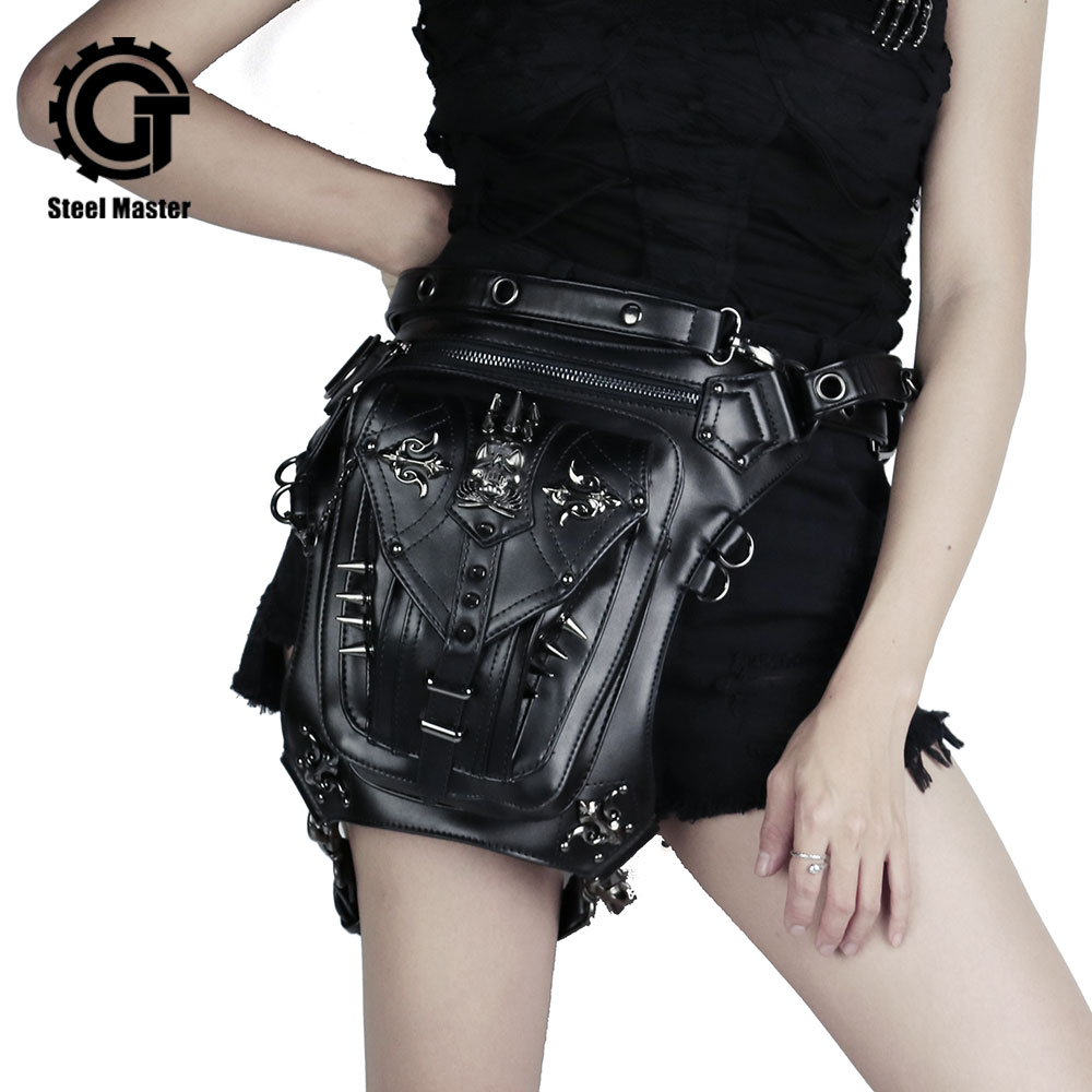 Μόδα Steampunk κρανίο Γοτθική τσάντα μέσης μέσης Retro Pu δερμάτινη τσάντα πριτσίνια Messenger Εξατομικευμένη τηλέφωνο πορτοφόλι Ανδρών & Γυναικών τσάντα μέσης