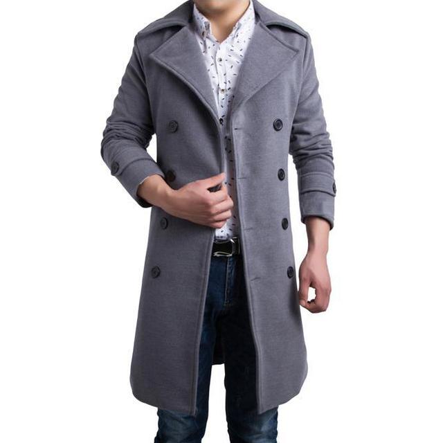 Alta calidad invierno hombre largo abrigo de lana engrosada cálido casual chaqueta Ml XL XXL XXXL JPY038