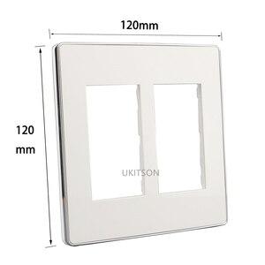 Серебряный край 120x120 мм Настенная пластина белая Лицевая панель костюм 6 слотов для HDMI TV RJ45 розетка