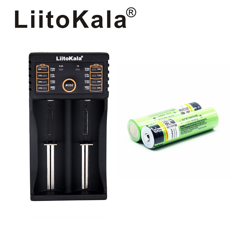 LiitoKala lii-202 USB 26650 18650 <font><b>AAA</b></font> AA Smart Charger + 2pcs NCR18650B 3.7V 18650 3400mAh Li-ion Rechargeable Battery (NO PCB) image