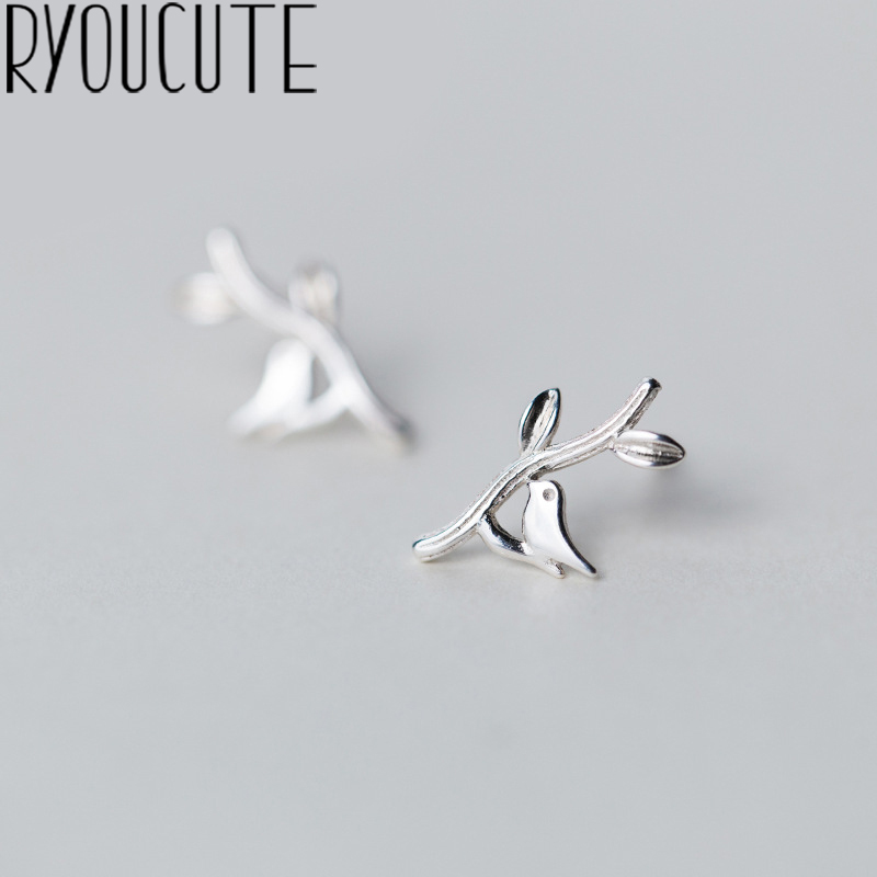 RYOUCUTE 100% Real Silver Color  Jewelry New Bird Leaf Earrings For Women Bijoux Statement Earring Brincos Pendientes