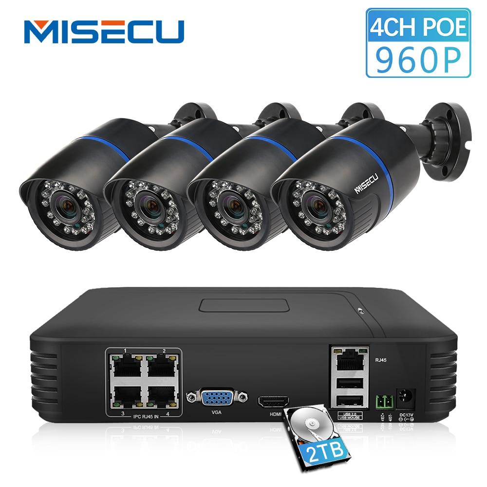 MISECU 4CH POE 1080 P NVR Nuage 1080 P 1 TB 1.3mp PoE IP 960 P Étanche PoE Caméra P2P HDMI Système CCTV Nuit Surveillance vision