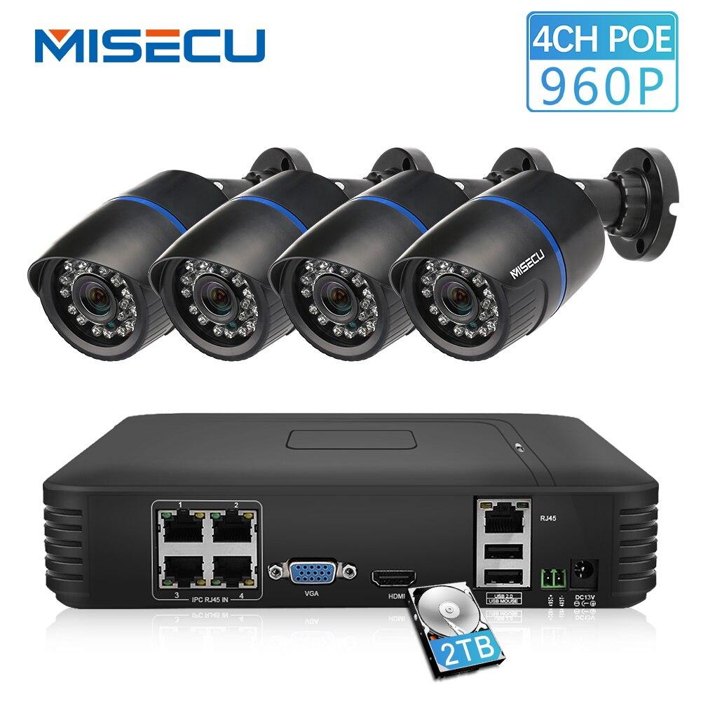MISECU 4CH POE 1080 P NVR Wolke 1080 P 1 TB 1.3mp PoE IP 960 P Wasserdichte PoE Kamera P2P HDMI CCTV System Überwachung nachtsicht