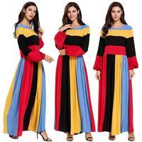 Dubai Color Block Dress Muslim Spring 2019 Robe Gown For Women Kaftan Turkish Multi color Dresses Stripe Patchwork Casual Dress