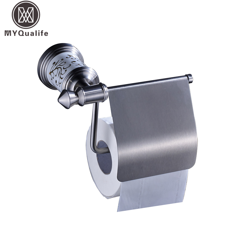 Brushed Nickel Wall Mounted Toilet Paper Holder Bar Stainless Steel with Cover Bathroom Roll Paper Tissue Rack stainless steel wall mounted waterproof toilet roll paper holder of high capacity for toilet hotel and bathroom