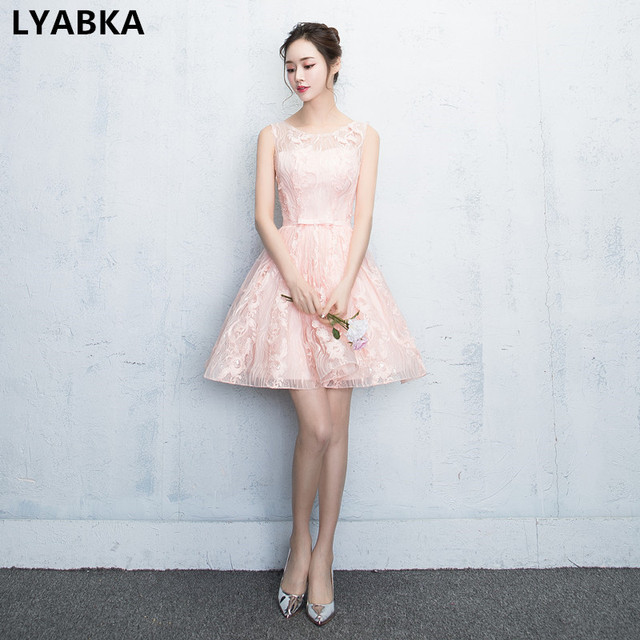 New Design Prom Dresses Custom Made High Quality Scoop Light Pink