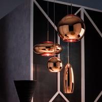 Tom Dixon Glass Copper Pendant Lamp Wide Mirror Ball Hanging Lights for Living Room Bedroom Industrial Lamp Home Decor Fixtures