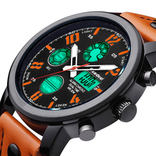Mens Watches Top Brand Luxury Chronograph Digital Men Watch Leather Led Waterproof Sport Watch Men Male Clock Man Wristwatch цена в Москве и Питере