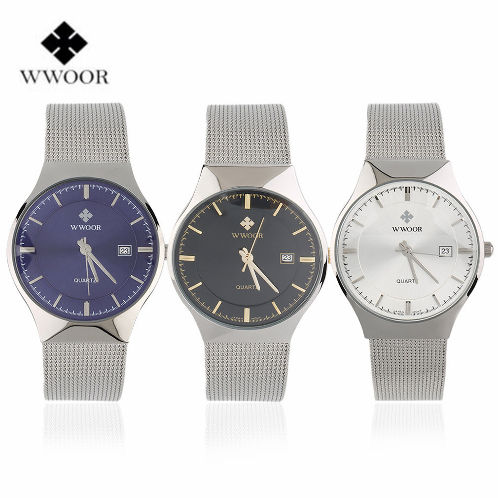 Wwoor waterproof ultra thin date clock male stainess steel strap casual quartz watch men wrist sport