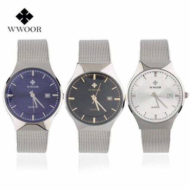 WWOOR Waterproof Ultra Thin Date Clock Male Stainess Steel Strap Casual Quartz Watch Men Wrist Sport Watch 3 Colors