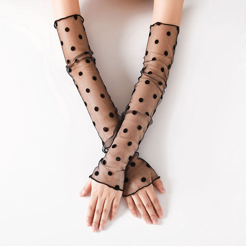Summer New Lace Resistant Thin Sleeved Girls Gloves Mesh Star Dots Ice Sleeve Driving Sun Protection Women Long Arm Glove