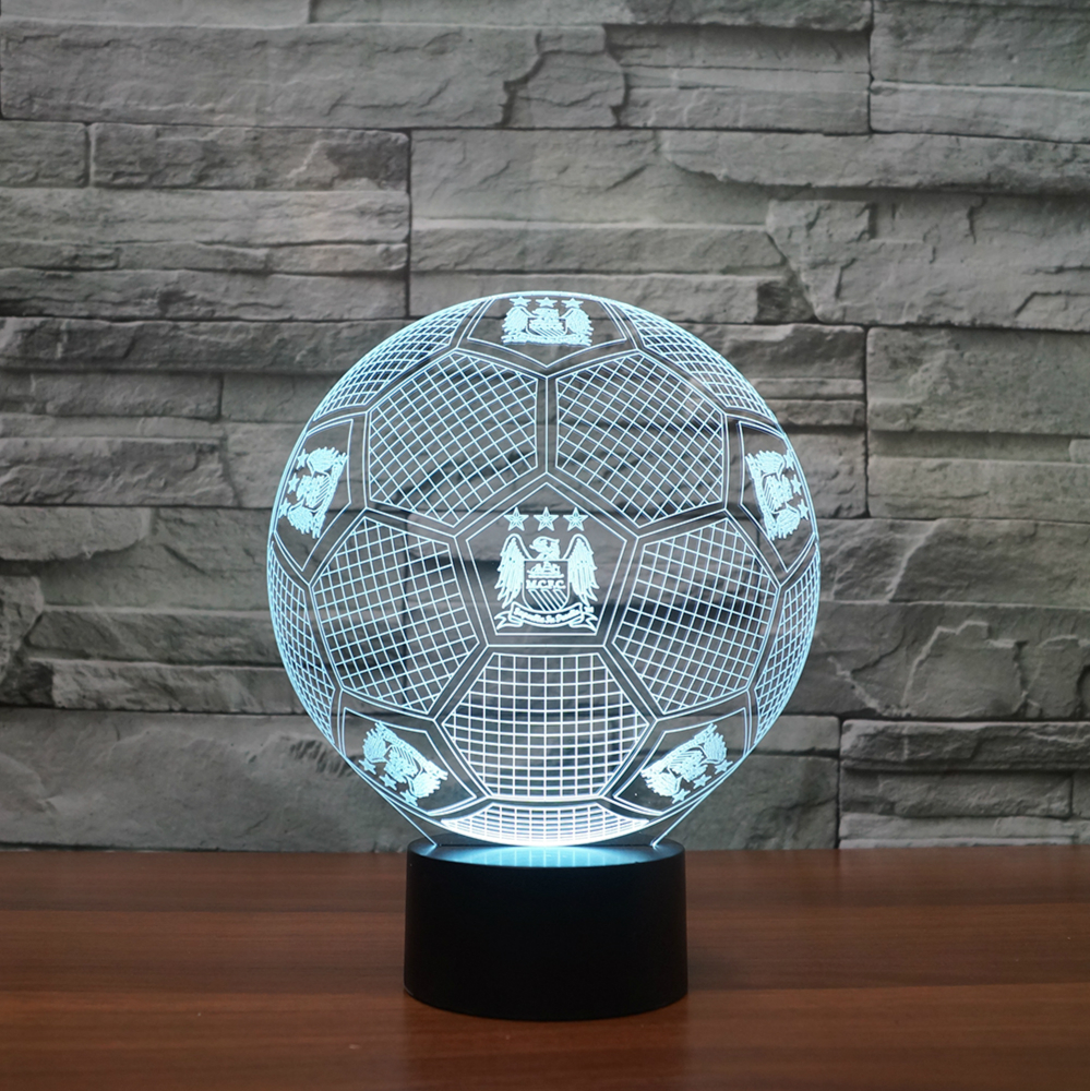 Creative 3d Lights Football Club Led Touch Lamp Manchester