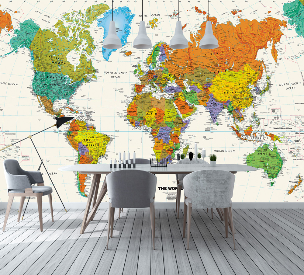 US $11.88 34% OFF|Bacaz 3d Colorful World Map Wallpaper Mural for Child  Office Room TV Background 3D Mural Wall papers 3d World Map Wall  stickers-in ...